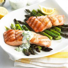Serve this simple Grilled Salmon with Garden Mayonnaise and fresh asparagus! More quick & easy grilled fish: http://www.bhg.com/recipes/grilling/seafood/grilled-fish-recipes/?socsrc=bhgpin062113salmon=16