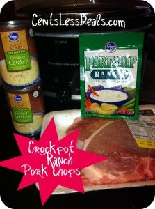 Crockpot Ranch Pork Chops  4-6 Pork Chops   1 packet of dry ranch seasoning mix   1 can cream of chicken   1 can of water (you can use up to two if you like them to be extra juicy)   Instructions  1.Add all the ingredients into your crock pot   2.Mix well   3.Cook on low for 4 to 6 hours