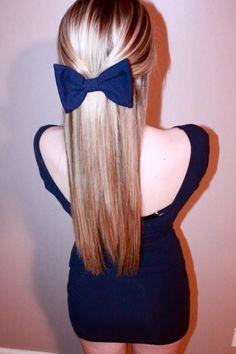 big bow, fashion, straight hair, blue, beauti, hair style, hairstyl, bows, hair bow