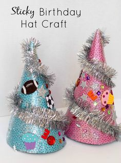 Sticky Birthday Hat Craft...birthday activities for kids. Great fine motor play for toddlers and preschoolers!
