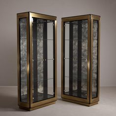 A Pair of Mastercraft designed Glazed Cabinets USA 1980s