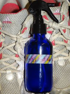 Stinky Feet No More  1 1/2 tsp. baking soda 10 drops Purify essential oil blend top off with witch hazel