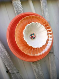Recycled Garden Wall Hanging Flower Orange by PearlsVintageGoods, $30.00