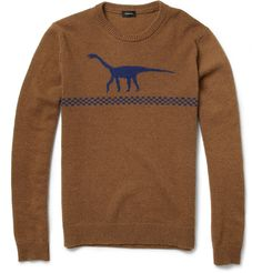 Jil SanderDinosaur Intarsia Camel and Wool-Blend Sweater jil sanderdinosaur, sweaters, cloth, intarsia camel, camels, sanderdinosaur intarsia, woolblend sweater, dinosaurs, dino sweater