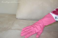 Remove dog hair from couch w/ a rubber glove