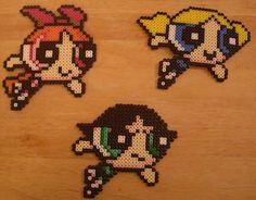 Powerpuff Girls Perler Art by hatchetsgochop, via Flickr perler art, bead pattern, craft, pixel art perler hama beads, perler pattern, girl perler, powerpuffgirl, powerpuff girl, power puff girls perler beads