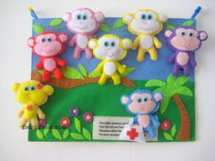 preschool activities, boardquiet book, activity board, monkeys, monkey felt