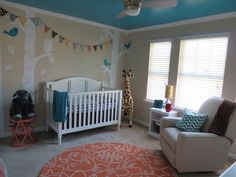 Project Nursery - Turquoise, Teal Animal Nursery Room View