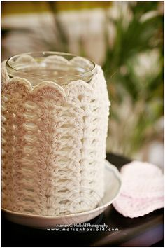 Crocheted candle holder