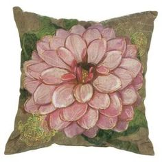 Add natrual appeal to a neutral sofa or loveseat with this eye-catching cotton pillow, showcasing a dahlia motif. - This reminds me of the painted quilts my grandmother use to make.  This would look lovely in the play room.