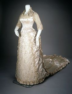 Wedding Dress: 1881, American, silk, pearl.