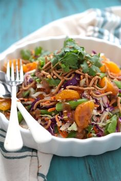 Crunchy Asian Cabbage Salad with Mandarin Oranges and Peanut Dressing