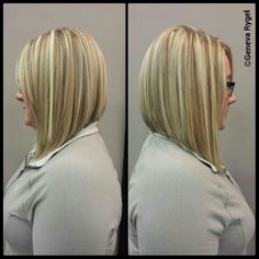 angled bob #graduated bob #inverted bob #blonde highlights created by ...