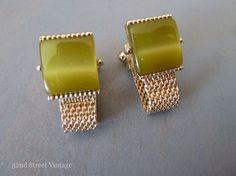 Vintage Green Swank Cuff links Moonglow by 52ndstreetvintage, $52.00