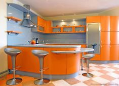 Complimentary Kitchen  This is an example of a complimentary kitchen because it has both orange and blue, which are complimentary to one another.