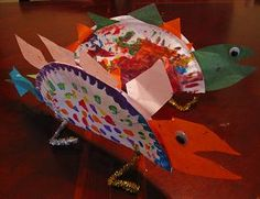 dinosaur crafts: using paper plates children can create any dinosaur you have been discussing in class using whatever materials they would like to explore with