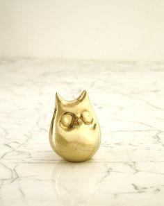 Chubby Brass Owl Bottle Opener