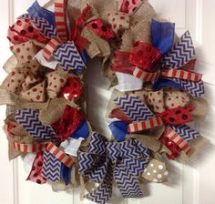 Patriotic Chevron & Polka Dot Red, White and Blue Burlap Wreath