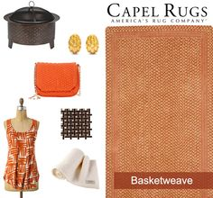 Drawing inspiration from our WILLIAMSBURG Basketweave rug, @CapelRugs hand selected several woven finds. CobraCo Woven Fire Pit: @wayfair | Tiffany & Co. Basket Weave Clip Earrings: @overstock | Deux Lux Crossbody Bag: @barneysWH Basketweave Racerback: @anthropologie | Tile: The Home Depot | Cariboo Crib Blanket: @babybrowns