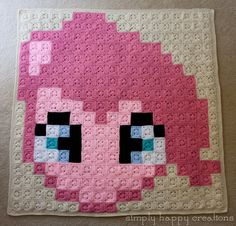 """MLP Pinkie Pie 8Bit Pixel Crochet (306 solid 3"""" granny squares - it measures approximately 53"""" x 54"""")  by simplyhappycreations"""