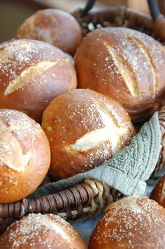 pretzel rolls. baking ~ homemade ~ bread ~ salt.