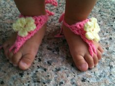 Crochet Barefoot Pink and Yellow Flower Sandals  by RitasKnots, $8.00