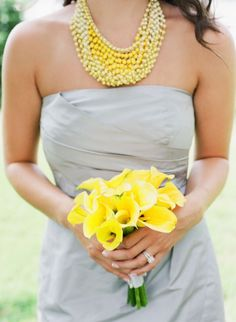 yellow and gray #yellow #wedding #inspiration yellow flowers, wedding beach, bridesmaid dresses, dress wedding, fun recip, wedding colors, yellow bouquets, color themes, chunky necklaces
