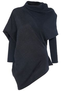 Dark Grey Collapse Of Shoulder Batwing Pullovers Sweater
