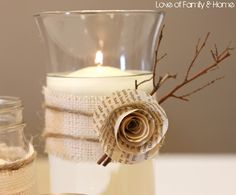 This #DIY #centerpiece is perfect for the #wedding day. A #battery operated tea-light ensures the safety of your guests.