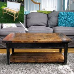 Oh wow! This was a beat up old piano bench. Now a coffee table with lots of character. Love this repurposing idea!