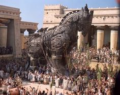The trojan horse is not a creature of such however it was used in war to distract the enemy. Even now phrases such as trojan horse and wolf in sheep's clothing are used to describe misleading people.