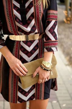 Aztec print dress with gold belt fashion style