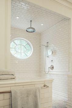 beautiful, white-subway-tiled, shower