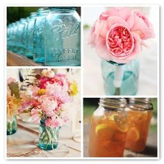 ball jars, blue mason jars, pink flowers, wedding ideas, country weddings, mason jar centerpieces, craft idea, rustic weddings, pink peonies