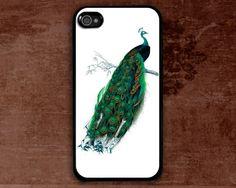 peacock iPhone 4 Case, iPhone 4s Case, iPhone 4 hard Case, Pattern Print black iphone hard case. $9.99, via Etsy.