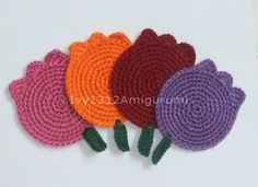 Multicolor Tulips Crochet Coasters  Finished by Ivy1312Amigurumi,