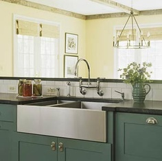 Kitchen Sinks: Farmhouse Sink Ideas modern farmhouse, cabinet colors, paint colors, painted cabinets, kitchen sinks, farmhouse sinks, farmhouse kitchen faucets, farmhous sink, stainless steel