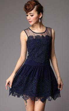 #Navy #Lace #Dress <3 sleeveless embroideri, embroideri pleat, style, navi lace, navi sleeveless, navy, black dress, lace dresses, pleat lace