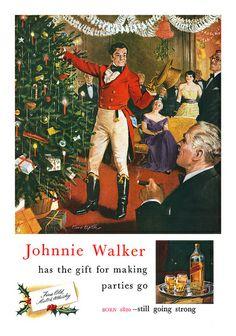 Vintage Johnnie Walker Whiskey advertisement from 1954... vintag johnni, whiskey advertis, walker whiskey, happi hour, vintag imag, johnni walker