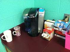 While browsing for classroom ideas for first grade I found this.. this teacher set up her own coffee station in her classroom.. Love it!