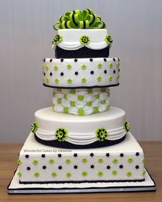 black, white, green wedding cake