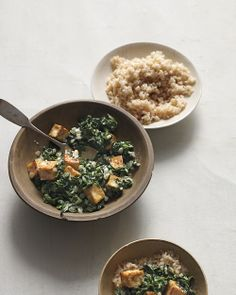 Peplace paneer cheese w/ tofu in this nod to the classic Indian dish: Spiced Tofu with Wilted Spinach and Yogurt, Wholeliving.com