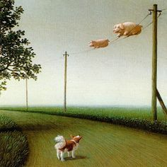 piggi, anim, michael sowa, pig art, pig fli, german artist, sowa german, fli pig, illustr