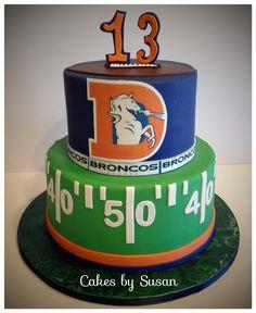 Old school Denver bronco cake cake idea, custom cake, bronco cake, cake cake, denver broncos cake