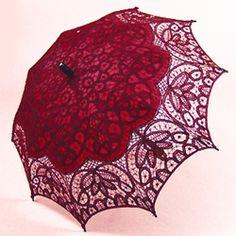 Burgundy lace parasol by Bella Umbrella $55