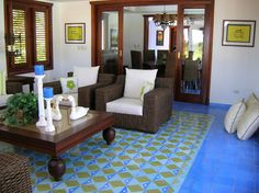 Cement tile #rug for a Mediterranean living room