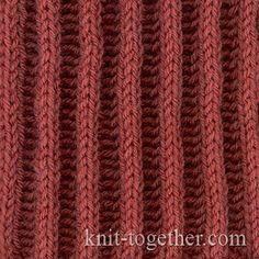 Relief Rib 2x2 and knitting pattern chart, Rib Stitches Patterns (Rib Knit)