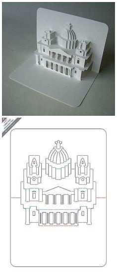 折纸 手工DIY 纸艺 剪纸 【立体卡片】圣保罗教堂