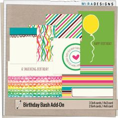 Free Birthday Bash Journaling Cards from Mira Designs