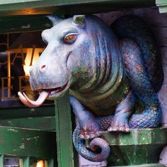 One of four painted and distressed Hippo Dragons with Modern Masters Metallic Paint at the recently opened Diagon Alley - Universal Studios Florida    Fantastic work by Marable Studios featured in Attractions Magazine IG